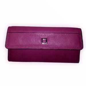 LODIS pink leather checkbook wallet